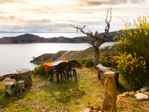 Dinner with a view over Lake Titicaca Stock Photography