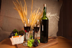 Dinner vine romactic and grass tree. On the wood table Royalty Free Stock Images