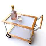 Dinner Wagon with Bottle and Glasses of Whiskey Royalty Free Stock Photo