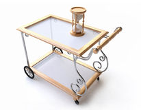 Dinner Wagon with Wooden Hourglass Royalty Free Stock Photo