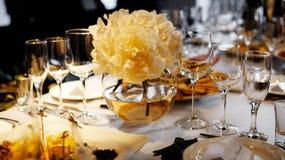 Dinner wedding setting. Detail of an elegant dinner wedding setting royalty free stock image
