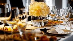 Dinner wedding setting. Detail of an elegant dinner wedding setting royalty free stock photos