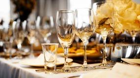 Dinner wedding setting. Detail of an elegant dinner wedding setting stock photo
