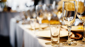 Dinner wedding setting. Detail of an elegant dinner wedding setting stock image