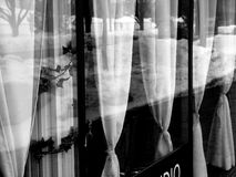 Dinner window with curtains in black and white stock images