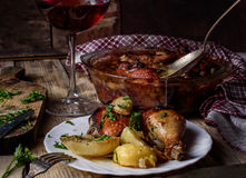 Dinner with wine Royalty Free Stock Images