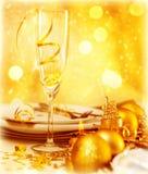 dinnerparty的圣诞节 免版税库存照片