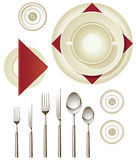 Dinnerware. Vector collection of dinnerware for creating your own table setting Stock Photography