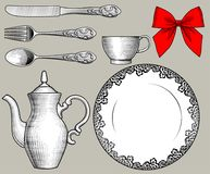 Dinnerware, cutlery and red bow in old style. Vintage stylized drawing. There is in addition a vector format EPS 8 Stock Image