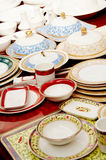 Dinnerware displaying. A lot of dinnerware displaying stock photography