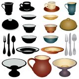 Dinnerware Icon Set. Cups and saucers in silhouette and gradient vector eps10 Royalty Free Stock Image