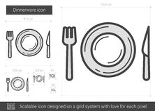 Dinnerware line icon. Dinnerware vector line icon isolated on white background. Dinnerware line icon for infographic, website or app. Scalable icon designed on Stock Images