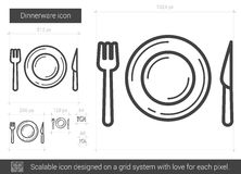 Dinnerware line icon. Dinnerware vector line icon isolated on white background. Dinnerware line icon for infographic, website or app. Scalable icon designed on Stock Photo
