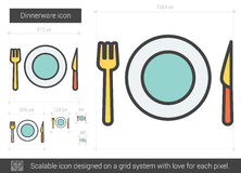 Dinnerware line icon. Dinnerware vector line icon isolated on white background. Dinnerware line icon for infographic, website or app. Scalable icon designed on Royalty Free Stock Photo