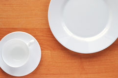 Dinnerware on table Stock Photo