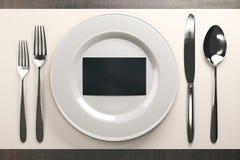 Dinnerwear avec la carte de visite professionnelle de visite noire Images libres de droits