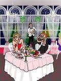 Dinning与移动电话 库存图片