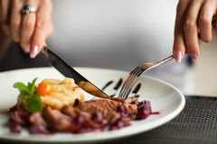 Woman having dinner in a restaurant Stock Photos