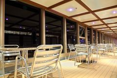Dinning deck on cruise liner Royalty Free Stock Photography