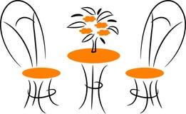 Dinning furniture. Isolated line art work vector illustration