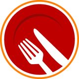 Dinning plate. Line art logo design stock illustration