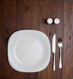 Dinning plate, fork and knife Stock Photo