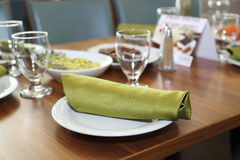 Dinning in restaurant. Banquet table setting, hotel restaurant Stock Photography