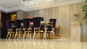 The dinning room. The family dinning room with modern styled fitments and furniture Royalty Free Stock Images