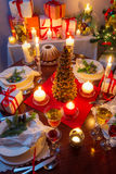 Dinning room at Christmas Eve Royalty Free Stock Photos