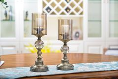 Dinning room crystal candlestick on table. Crystal candlestick on table in house dinning room,Ornament stock photography