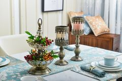 Dinning room crystal candlestick on table. Crystal candlestick on table in house dinning room,Ornament royalty free stock photography