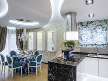 Dinning room and kitchen. Interior of dinning room and kitchen Royalty Free Stock Photos