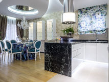 Dinning room and kitchen. Interior of dinning room and kitchen Royalty Free Stock Images