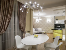 Dinning room and kitchen. Interior, decoration and furniture Royalty Free Stock Images