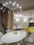 Dinning room and kitchen. Interior, decoration and furniture Royalty Free Stock Photo