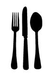 Dinning Room Knife Fork Spoon Silhou. Dinning Room Knife Fork Spoon Place Setting Silhouette isolated on a white background Stock Photo