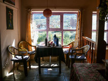 Dinning room in lodge, Ranipauwa, Nepal Stock Photo