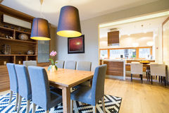 Dinning room in modern house Royalty Free Stock Photos