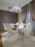 Dinning room. Table and chairs Stock Photos