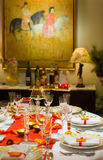 Dinning settings. Dinning table settings for the New Year dinner Royalty Free Stock Photography