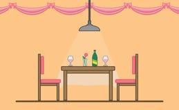 Dinning tabell för romantiskt datum vektor illustrationer