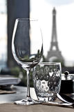Dinning table with Eiffel tower Royalty Free Stock Photography
