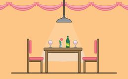 Dinning Table For Romantic Date vector illustration