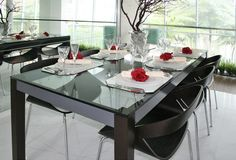 Dinning table setting. Showroom with 6 seater dinning table with cutlery setting stock images