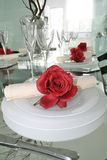Dinning table setup. Romantic dinner table setup closeup Royalty Free Stock Photo