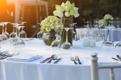 Dinning wedding table set with white lotus stock image