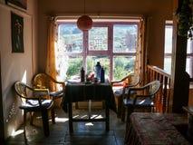 Dinningsruimte in loge, Ranipauwa, Nepal Stock Foto