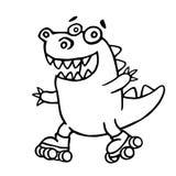 Dino ściga się na rollerblades w parku również zwrócić corel ilustracji wektora ilustracja wektor