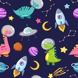 Dino στο διαστημικό άνευ ραφής σχέδιο Χαριτωμένοι χαρακτήρες δράκων, διακινούμενος γαλαξίας δεινοσαύρων με τα αστέρια, πλανήτες Κ ελεύθερη απεικόνιση δικαιώματος