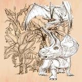 Dino, динозавры - вектор нарисованный рукой Линия искусство Стоковая Фотография
